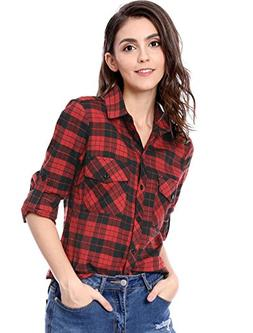 Allegra K Women's Check Roll up Sleeves Flap Pockets Brushed