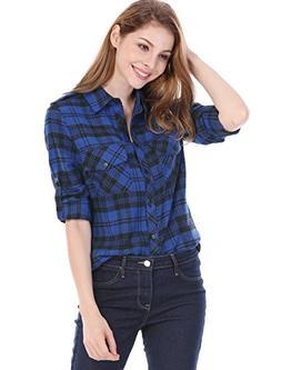 Allegra K Women's Checks Roll up Sleeves Flap Pockets Flanne