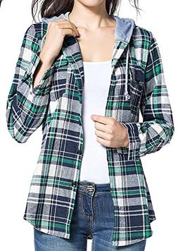 BomDeals Women's Classic Plaid Cotton Hoodie Button-up Flann
