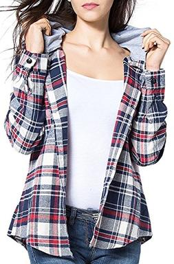 BomDeals Women's Classic Plaid Cotton Hoodie Button-up Flann