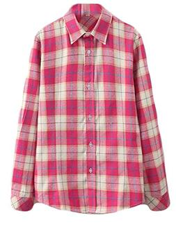 Fulok Womens Comfy Junior Flannel Long Sleeve Plaid Button D