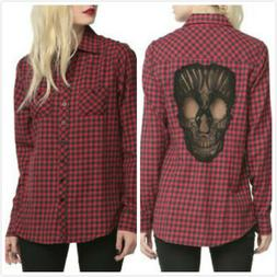 Cool Skull Plaid Shirt Women's Long Sleeve Flannel Casual Bl