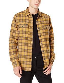 Volcom Men's Copeland Long Sleeve Flannel Shirt, Burnt Khaki