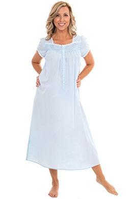 Alexander Del Rossa Womens 100% Cotton Lawn Nightgown, Cap S