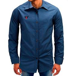 Willsa Men Cotton Solid Color Long Sleeve Beefy Button Shirt