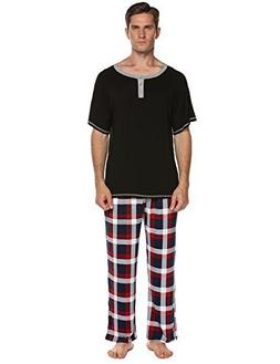 Ekouaer Mens Cotton Solid Pajamas,O Neck Shirt and Long Pant