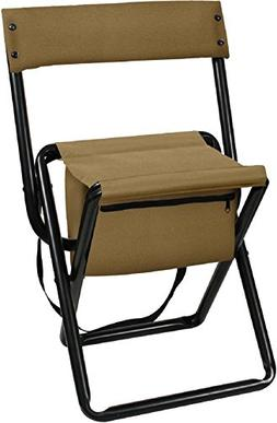 Coyote Brown Deluxe Portable Folding Chair Stool with Pouch