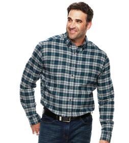 CROFT & BARROW Mens B&T Blue Cotton Flannel Woven Plaid L/S