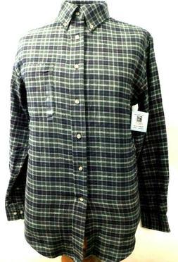 Top Drawer, Dark Green Plaid 100% Cotton Flannel Sport Shirt