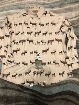 WOOLRICH Deer Elk Moose Pattern 100% Cotton Flannel Button D