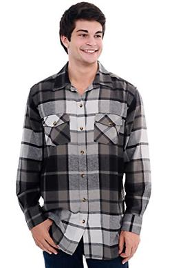 Del Rossa Mens Flannel Shirt, Long Sleeve Cotton Top, 3XL Bl