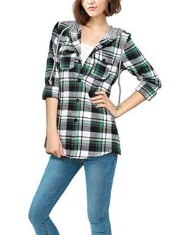 Allegra K Women's Drawstring Hooded Long Sleeves Plaid Shirt