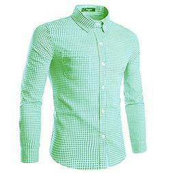 NUTEXROL Mens Dress Shirts Plaid Cotton Classic Slim Fit Lon