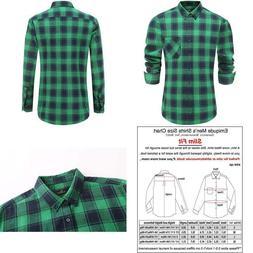 Emiqude Men'S Slim Fit Stylish Flannel Long Sleeve Button Do