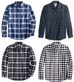Essentials Men Regular Fit Long-Sleeve Plaid Flannel Shirt S