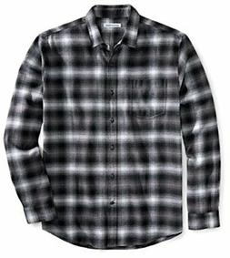 Essentials Men's Regular-Fit Long-Sleeve Plaid, Black, Size