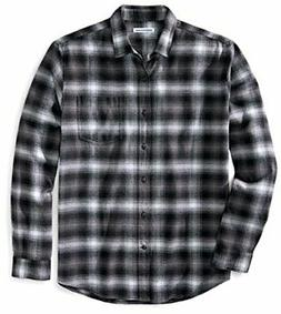 Essentials Men's Regular-Fit Long-Sleeve Plaid Flannel, Blac