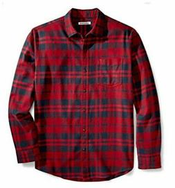 Essentials Men's Regular-Fit Long-Sleeve Plaid, Red Plaid, S