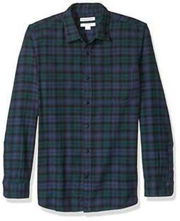 Essentials Men's Slim-Fit Long-Sleeve Plaid Flannel, Blue, S