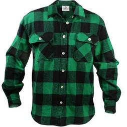 Green and Black Extra Heavyweight Brawny Flannel Shirt - X-L