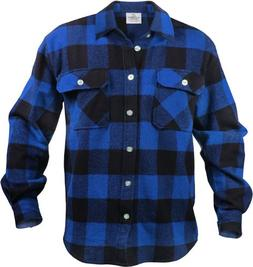 Extra Heavyweight Buffalo Plaid Flannel Shirt - Blue & Black