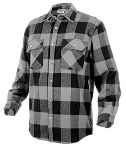 Rothco Extra Heavyweight Buffalo Flannel Shirts, Grey Plaid,