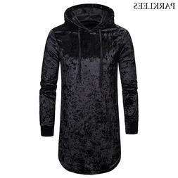 Extra Long Velvet Hoodie T <font><b>Shirt</b></font> Men 201