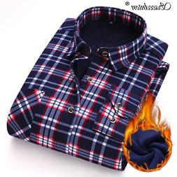Fashion Men Winter Warm <font><b>Flannel</b></font> Plaid Dr
