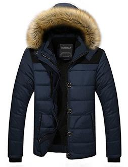 Menschwear Men's Faux Fur Hooded Down Jacket Parka Flannel L