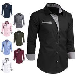 Doublju Mens Slim Fit Cotton Flannel Long Sleeve Button Down