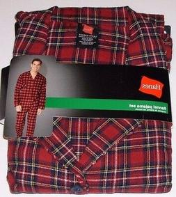 Hanes Flannel 2pc Pajama Set Shirt & Pants - Plaid Adult Siz