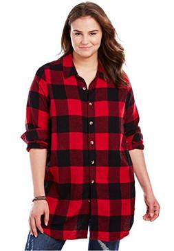 Women's Plus Size Classic Flannel Bigshirt Classic Red Black