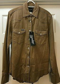 WRANGLER Flannel Button Up Shirt Country Khaki Mid Weight Sh