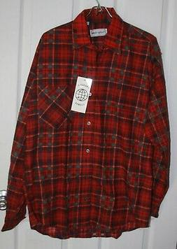 Prestige Global Flannel Button Up Shirt Medium Red Plaid Cot