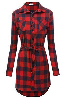 Misakia Women Flannel Casual Long Sleeve Button Down Plaid S