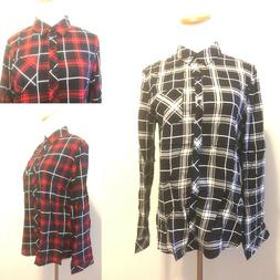 Flannel Check Plaid Lapel Shirt Button Down Blouse Tops Long