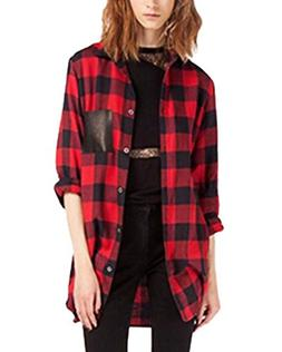 ZANZEA Women's Flannel Check Plaid Long Sleeve Buffalo Pocke