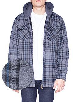 Mens Flannel Jacket Zip Up Fleece Hoodie Big & Tall Sherpa H