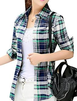 Fulok Womens Flannel Lapel Plaid Contrast Color Button Down