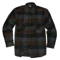 flannel long sleeve shirt brown navy 2508