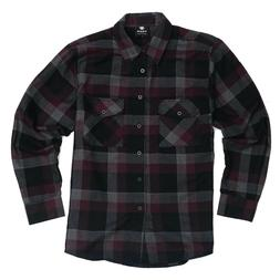 Yago Flannel Long Sleeve Shirt Burgundy / Grey / Black 2508-