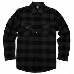 Yago Flannel Long Sleeve Shirt Charcoal Black YG2508-A3
