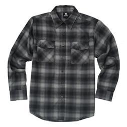 Yago Flannel Long Sleeve Shirt Charcoal w/Black YG2508-J4