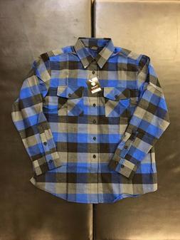 Yago Flannel Long Sleeve Shirt Grey / Black / Blue YG2508-24