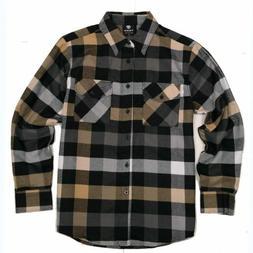 Yago Flannel Long Sleeve Shirt  Grey / Black / Olive Chekere