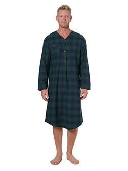 Noble Mount Men's Flannel Nightshirt - Gingham Green/Navy -