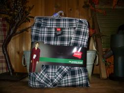 Hanes Flannel Pajama Set 2XL Black Plaid Drawstring Elastic
