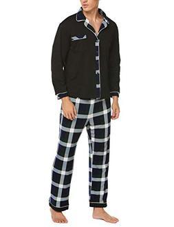 Ekouaer Mens Flannel Pajamas, Long Cotton Pj Set, Green, Lar