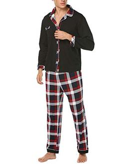 Ekouaer Mens Flannel Pajamas, Long Cotton Pj Set, Red, Small