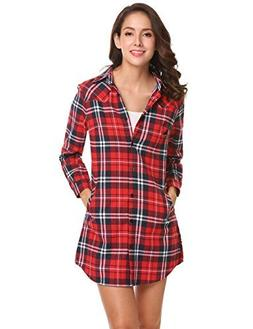 Concep Women's Flannel Plaid Button Down Shirt Plus Size Cuf
